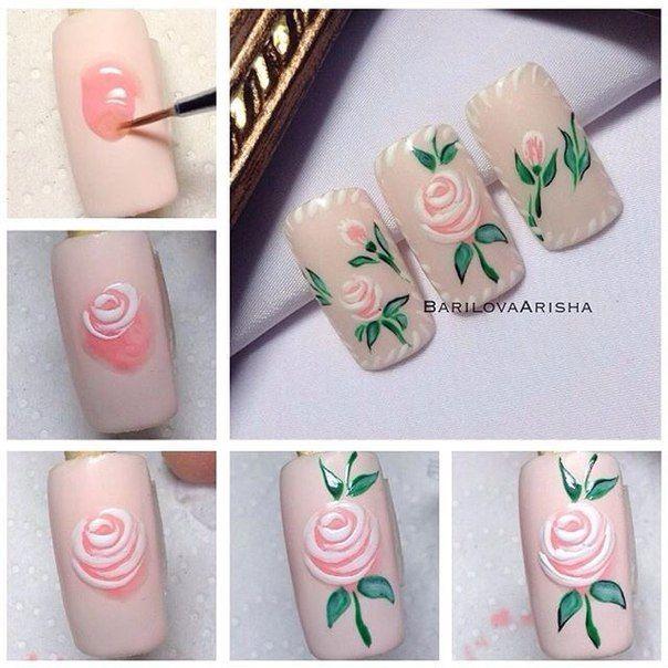 Unas Rosa Mano Alzada Decoracion Unas Nail Designs Rose Nail
