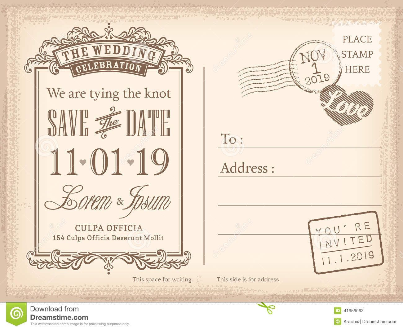 Vintage Postcard Save The Date Background For Invitation ... | Save ...