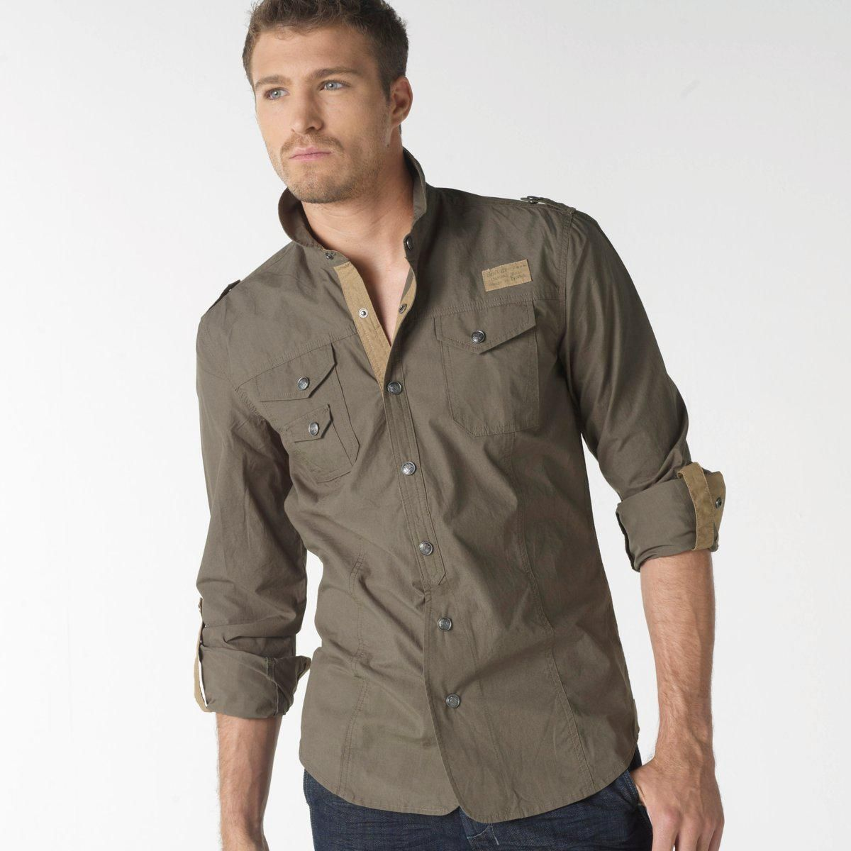 c926ee54d6 Camisa militar manga larga 100% algodón