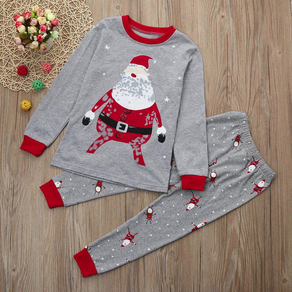 NEW Christmas Kids Baby Boy Girl Santa Claus Tops+Pants Xmas Clothes Outfits Set