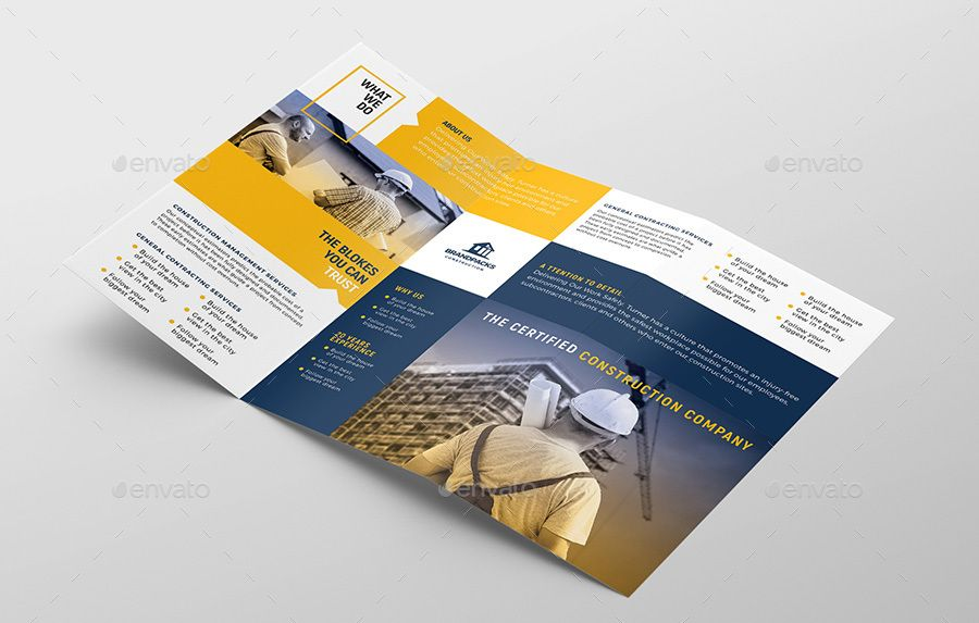 construction tri fold brochure template corporate pinterest