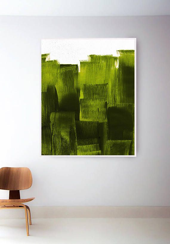 Avocado Green Print Sage Painting Light Wall Art Minimal