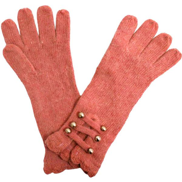 Soft Pink Angora Knit Gloves With Silver Buttons Style Pinterest