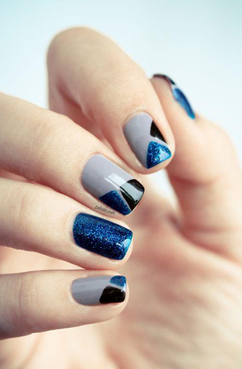 Nails Art Gray Blue Glitter Black Design Large Nail Polish Grey Nail Designs Fashion Nails