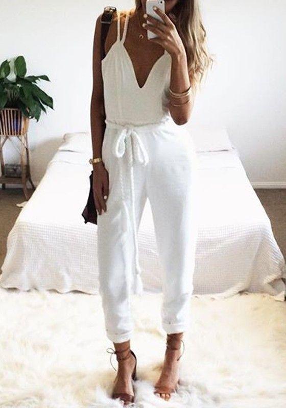 4840bfb06b99 White Plain Condole Belt Belt High Waisted Long Jumpsuit