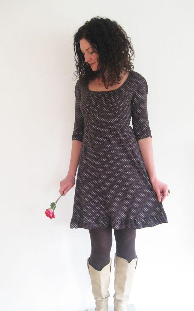 Kleider - Kleid 3/4-Arm, A-Form, - braun, Punkte, Gr. S ...
