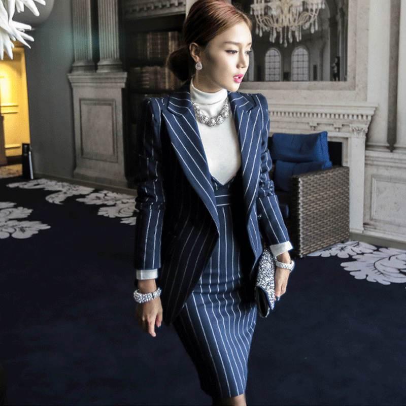 d3893b4c5 OL Work Striped Office Lady Dress Suits 2 Two Piece Sets Elegant Women Blazer  Jacket + Fashion Sheath Dresses Femme