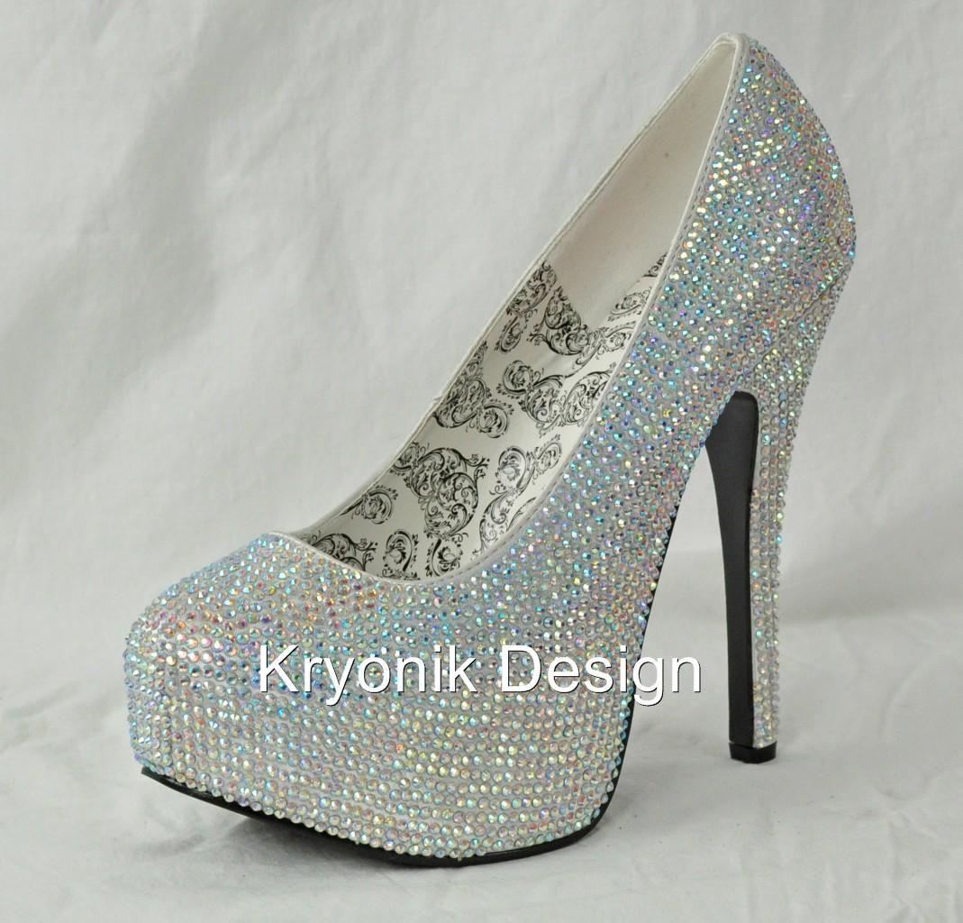 58f8c9c5cee8 in my size Bordello Shoes Teeze 06R Silver Iridescent Rhinestone Stiletto Heels  Pumps 6 12