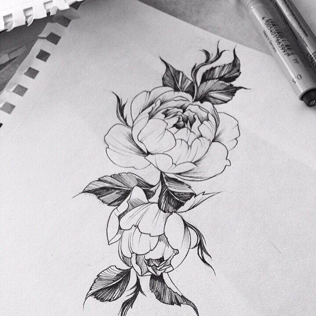 Картинки по запросу тату на икре женские цветы чб ...