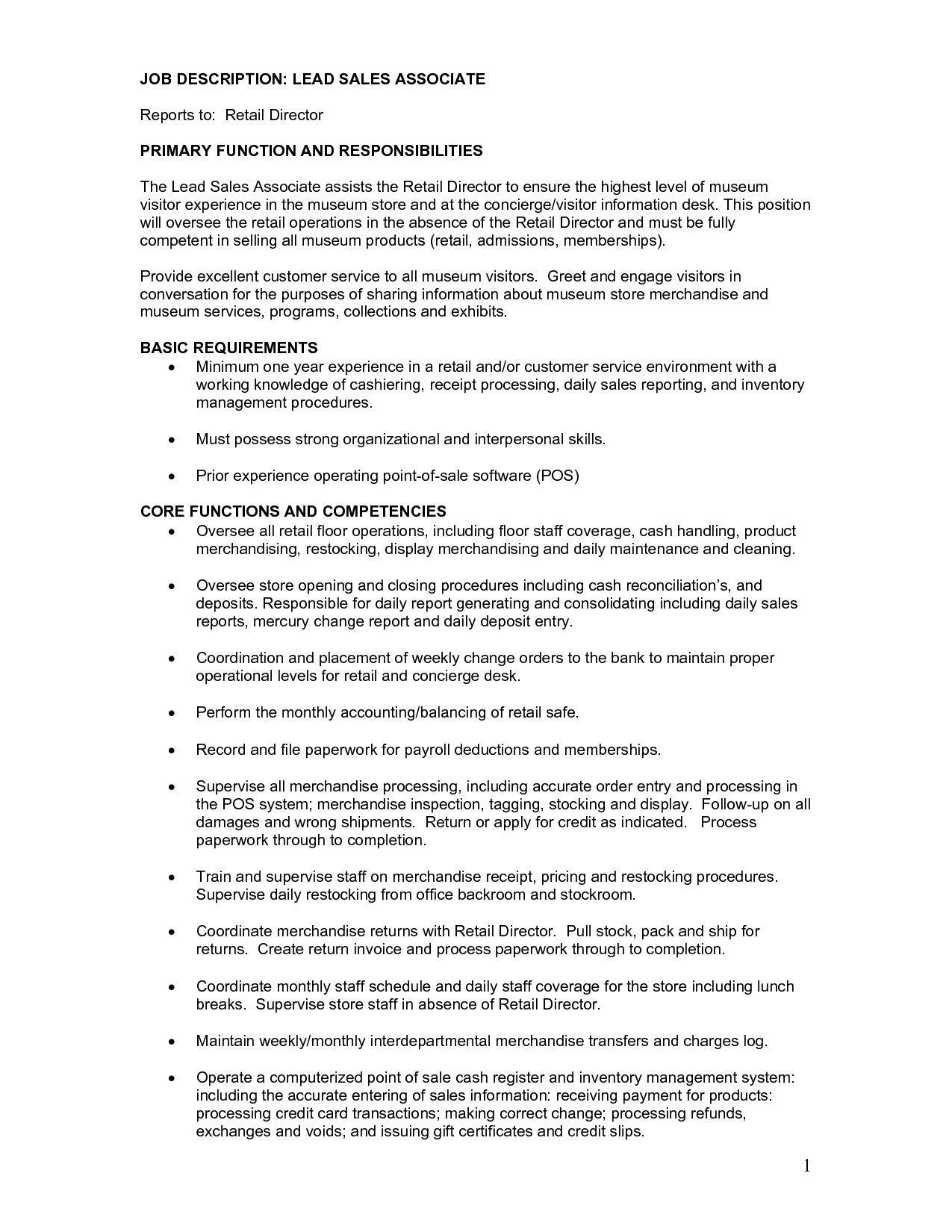 sales associate job descriptions for resume Wunderbar