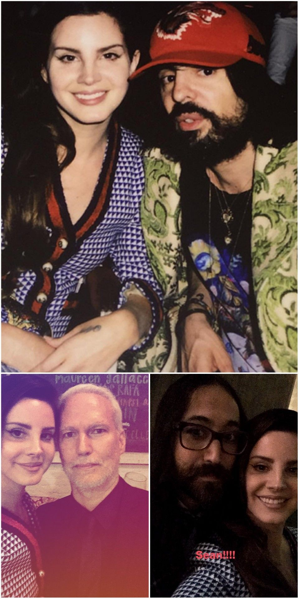May 2, 2017: Lana Del Rey posted these photos on her Instagram story. She's with Alessandro Michele, Klaus Biesenbach and Sean Lennon at Gucci's fragrance launch party in New York City #LDR