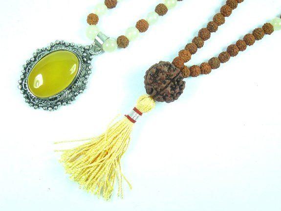 Balancing Your Low Moods- Rudraksha Citrine Mala Beads Meditation Healing Prayer Beads