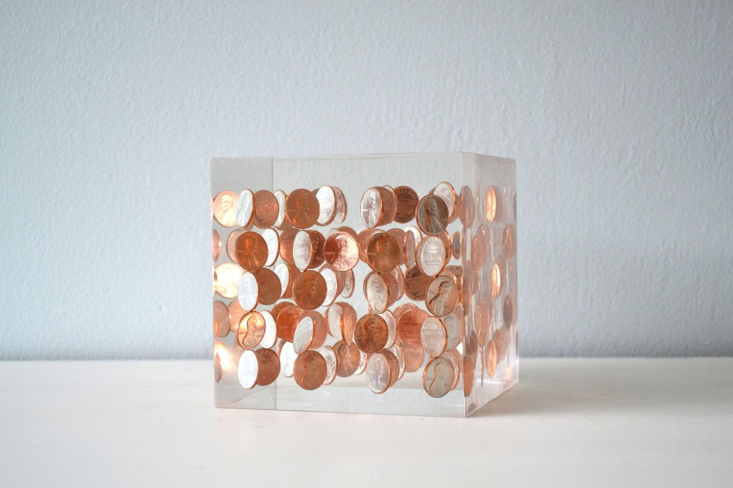 Vintage Lucite Penny Art Sculpture, Clear Resin and Copper Bookend ... for Clear Resin Sculpture  150ifm