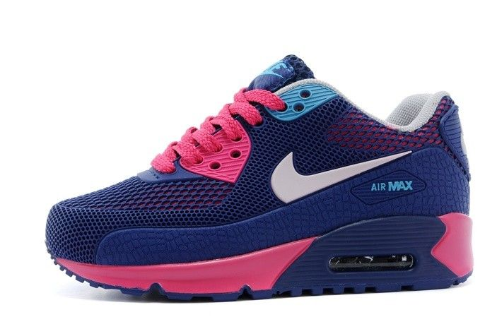 finest selection 00c9f 52bac Blue Nike Air Max 90 Tpu Kpu Kids Shoes Dark Blue Pink