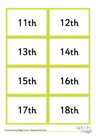 Mix and Match Ordinal Number Abbreviation Cards 11th to 20th ...