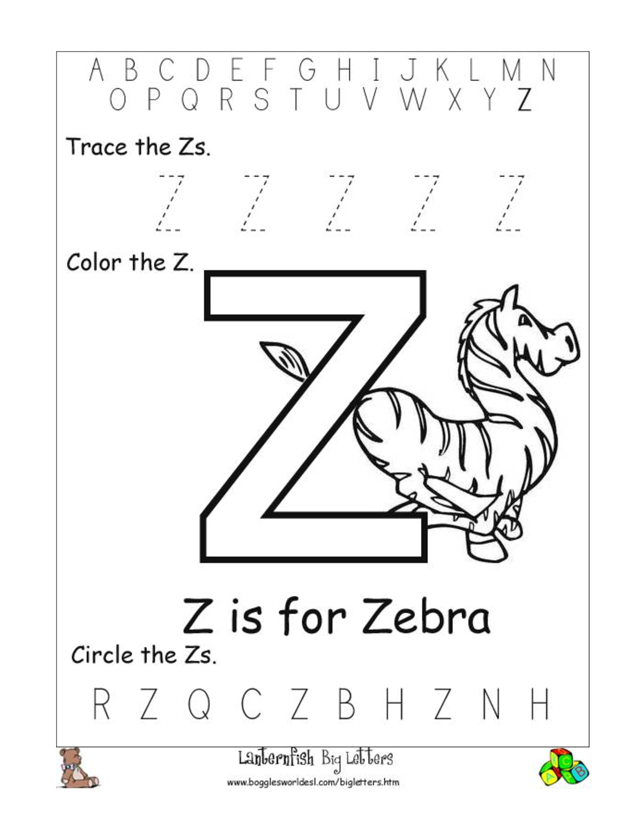 alphabet worksheets for preschoolers alphabet worksheet big letter z download as doc. Black Bedroom Furniture Sets. Home Design Ideas