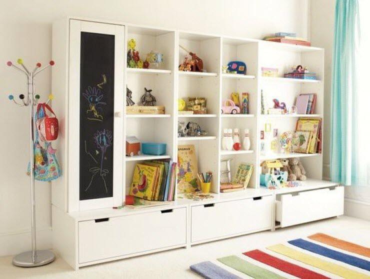 Grand espace de rangement pour chambre d 39 enfant avec modules stuva de chez ikea vintage Rangement jeux enfant