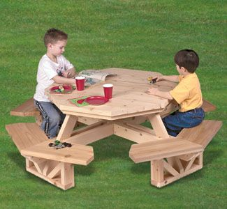 Kid S Octagon Picnic Table Woodworking Pattern I Have This Plan From The Winfield Col Octagon Picnic Table Woodworking Patterns Woodworking Projects For Kids