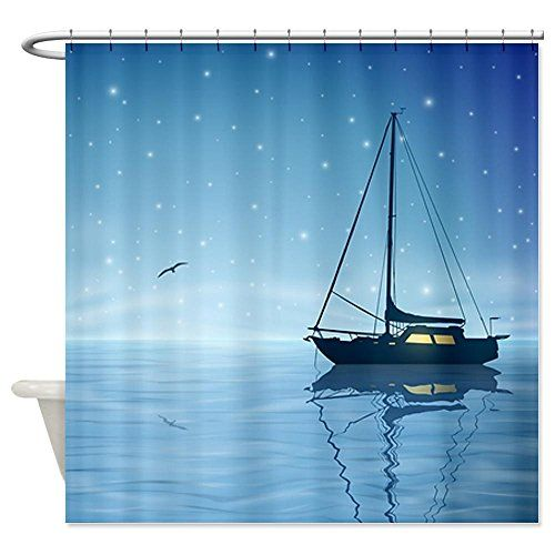 Cafepress Sailboat At Night Shower Curtain Decorative Fabric