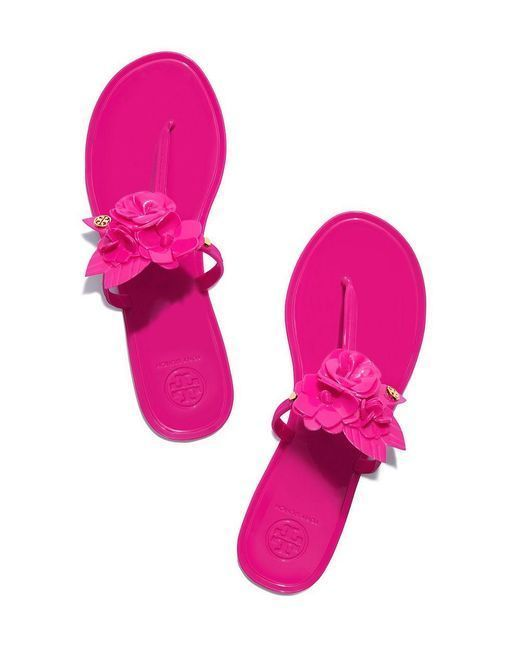 0f9b77b55c0c New Tory Burch Blossom Jelly Thong Sandal Hibiscus Flower Size 8  ToryBurch   Thong