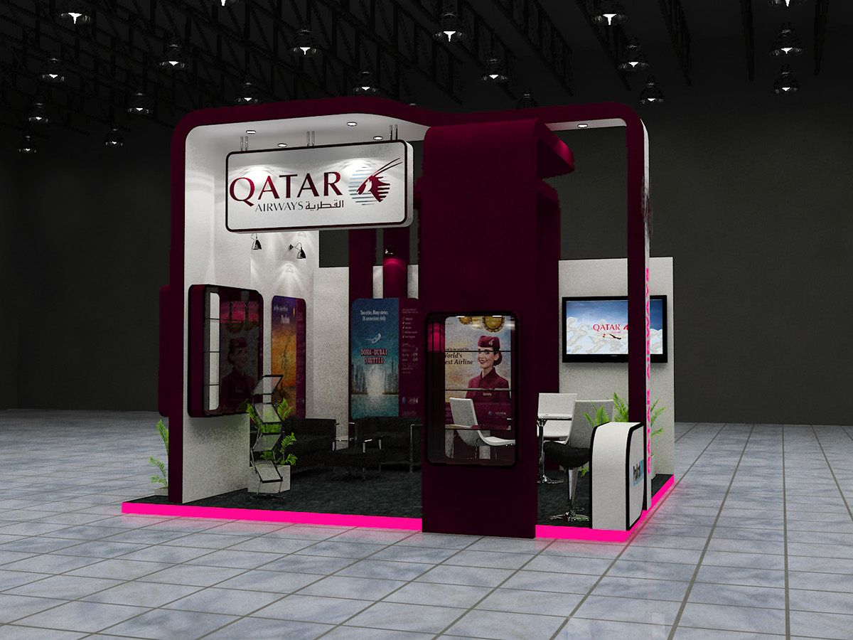Exhibition Stand Qatar : Exhibition stall design for qatar airways exhibitions