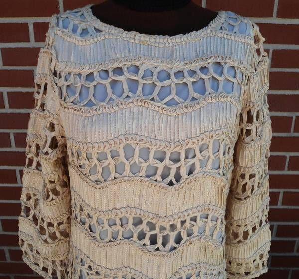Vtg Caledonia Evening or Wedding Dress Woven Ribbon Lace Size 6