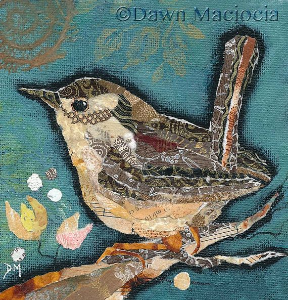 Giclee open edition print of a gorgeous wren. Reproduced from an original torn painted paper collage. Archival Epson inks on Somerset Enhanced