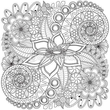 Remolino de flores patrón página del colorante. — Vector de stock ...