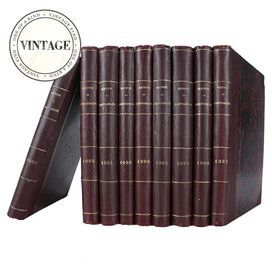 """Set of 9 vintage French books.   Product: 9-Piece book setConstruction Material: Paper and clothColor: BrownDimensions: 10"""" H x 9"""" W x 7"""" D (overall)Note: Due to the vintage nature of this product, some wear and tear is to be expected. Products may show signs of brand marks, scrapes or other blemishes.Cleaning and Care: Wipe with damp cloth"""