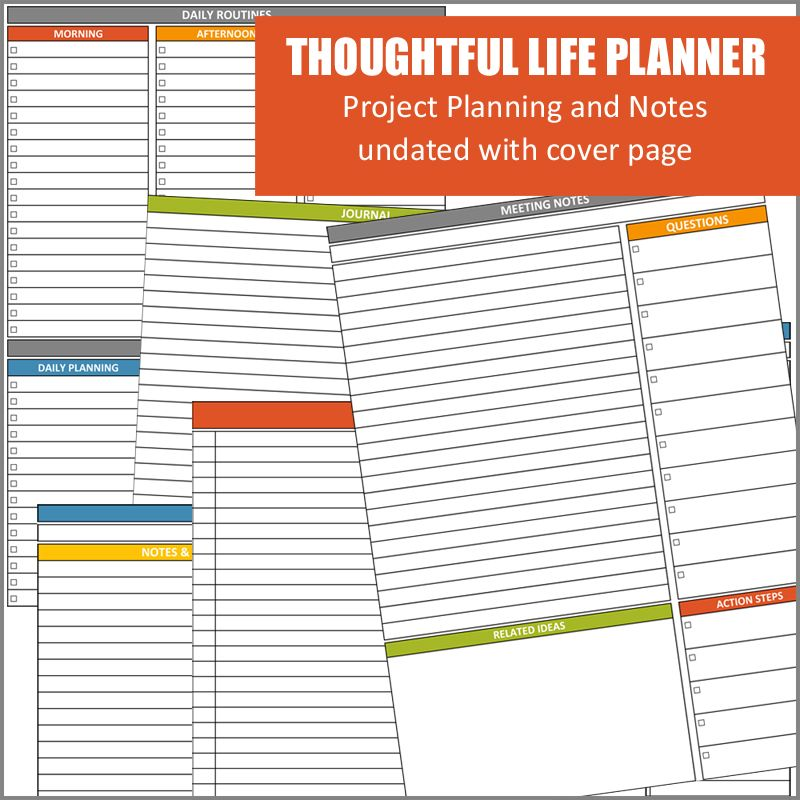 Thoughtful Life Planner Project and Notes Pages Home Management