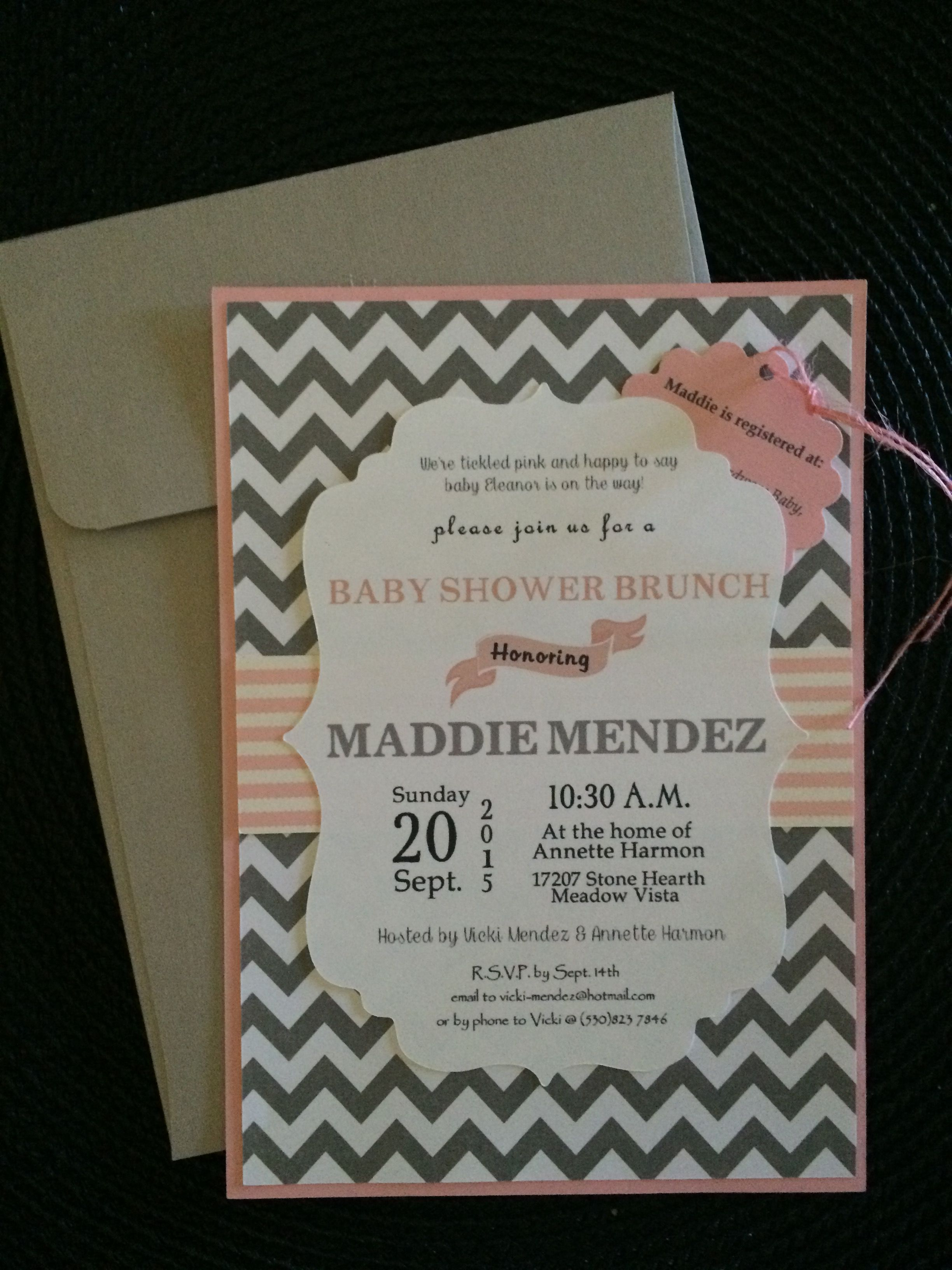 Maddies Baby Shower Invitations made with my Cricut Explore using
