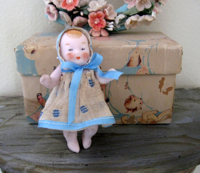 German Antique Bisque Baby Doll 2 3 4 Inches Original Felt Clothing