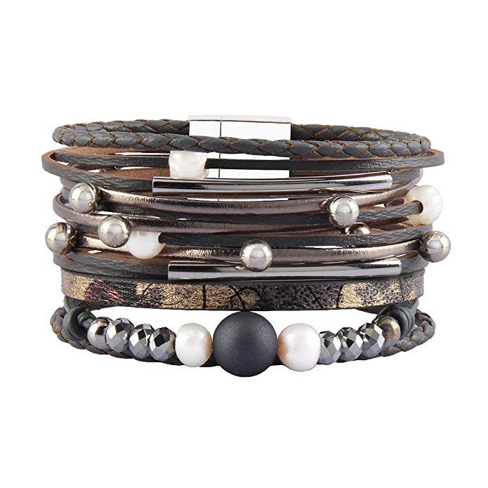 794fab3dd1e Jenia Women Leather Wrap Bracelet Causal Multilayer Cuff Bracelets Boho  Rope Braided Bangle Handmade Jewelry for Girls, Mother, Wife, Lady Gift  Review