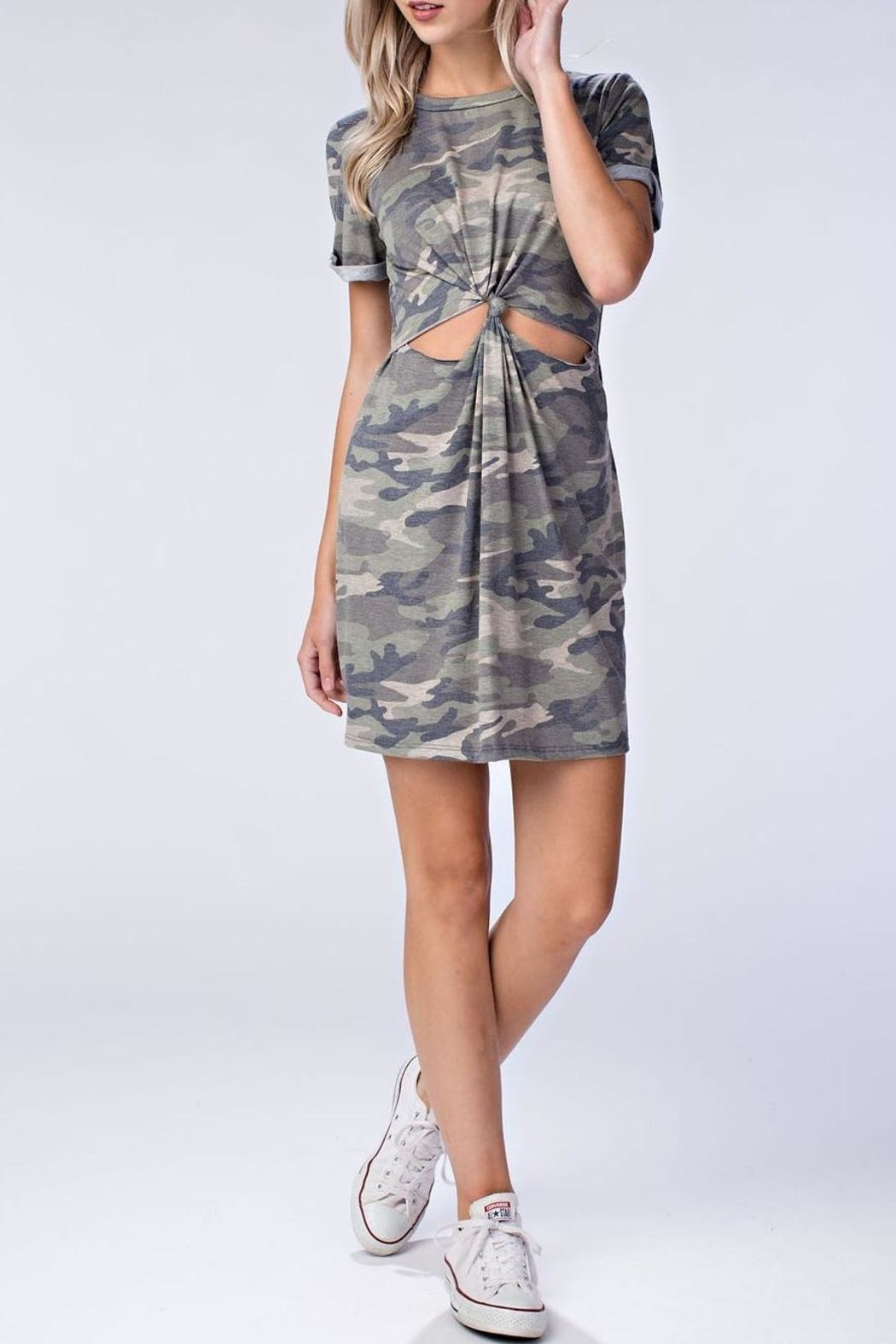 9fcb5885ca5 Camouflage t-shirt dress with front twist cut out. Camo Cut Out Dress by Honey  Punch. Clothing - Dresses - Cut-Out Clothing - Dresses - T-Shirt New York  ...
