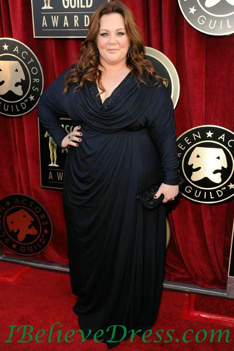 Chiffon Melissa McCarthy Long Sleeves Plus Size Evening Dress SAG ...