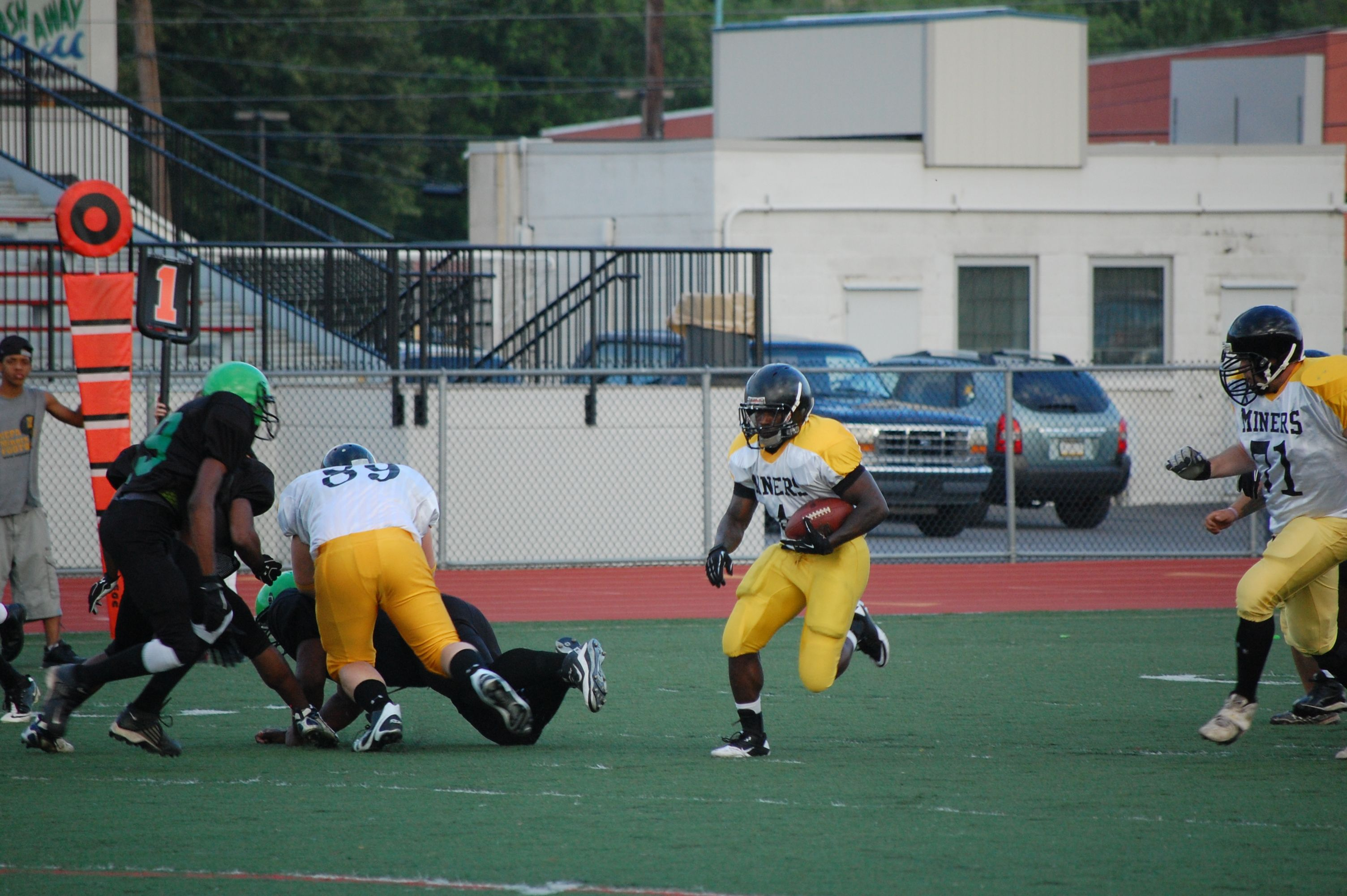 NEPA Miners Running Back Marc Best helps lead the team to a 21-20 victory to open the Miners 2012 football season.