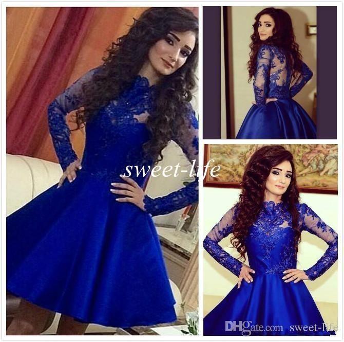 Royal Blue Short Prom Dresses Ball Gown Long Sleeves Satin Sheer ...