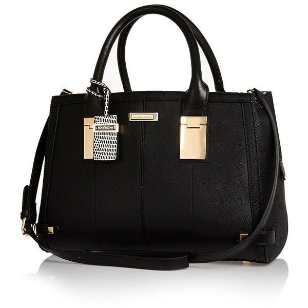 River Island Black Hinge Handle Large Tote Handbag 90 Liked On Polyvore Featuring Bags Handbags Purses