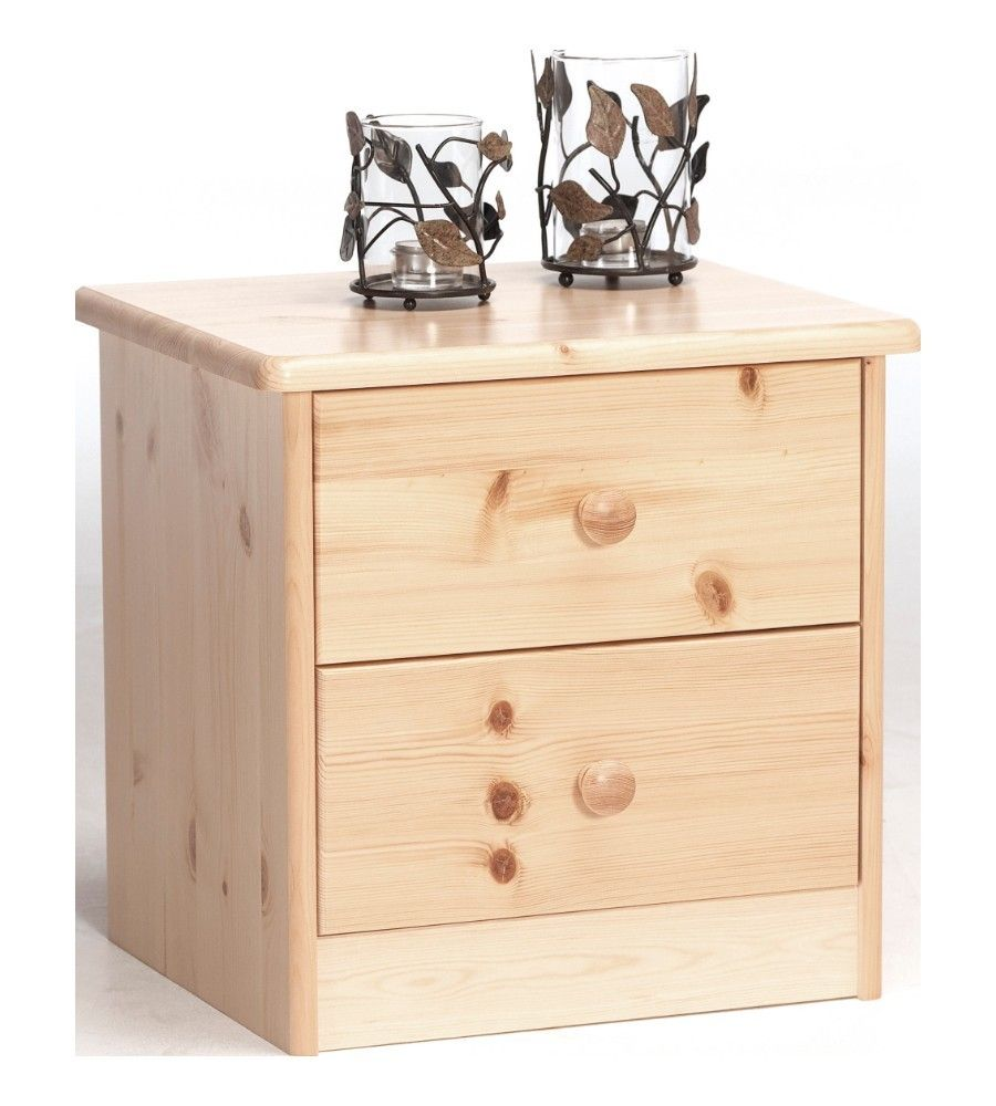 steens mario natural pine kids 2 drawer bedside cabinet / table