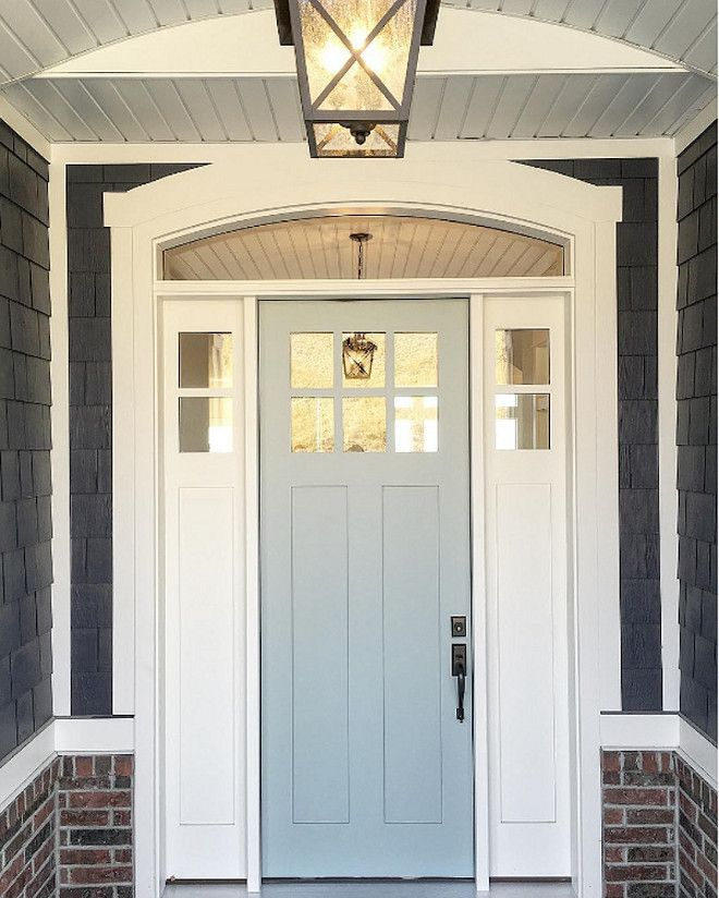Beau Grey Front Door Paint Color: Benjamin Moore Wedge. Shingle Are Painted In Benjamin  Moore Hale Navy. Millhaven Homes.