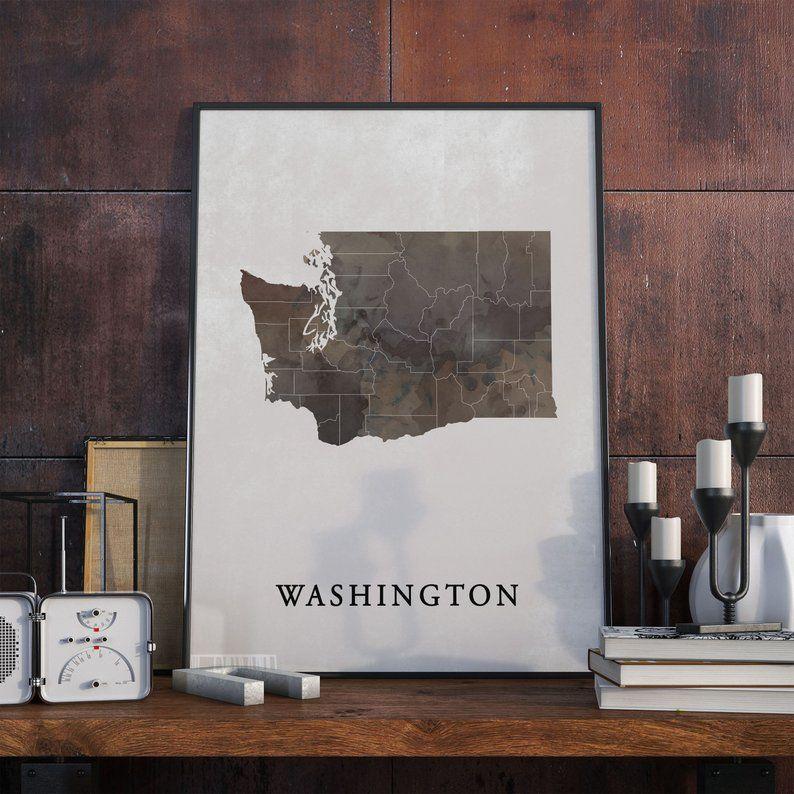 Washington Map Art Watercolor Print State County Wall Art Vintagemaps Vintageprints Posterwall Homedecor Washington Map Art Map Print Washington Map