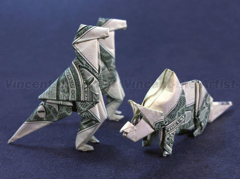 Dollar Bill Money Origami T-REX Great Gift Idea ... - photo#1