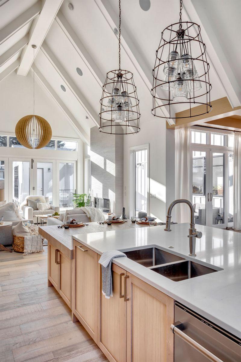 beach chic open concept main floor living spaces interior design kitchen white oak kitchen on kitchen remodel with island open concept id=75437
