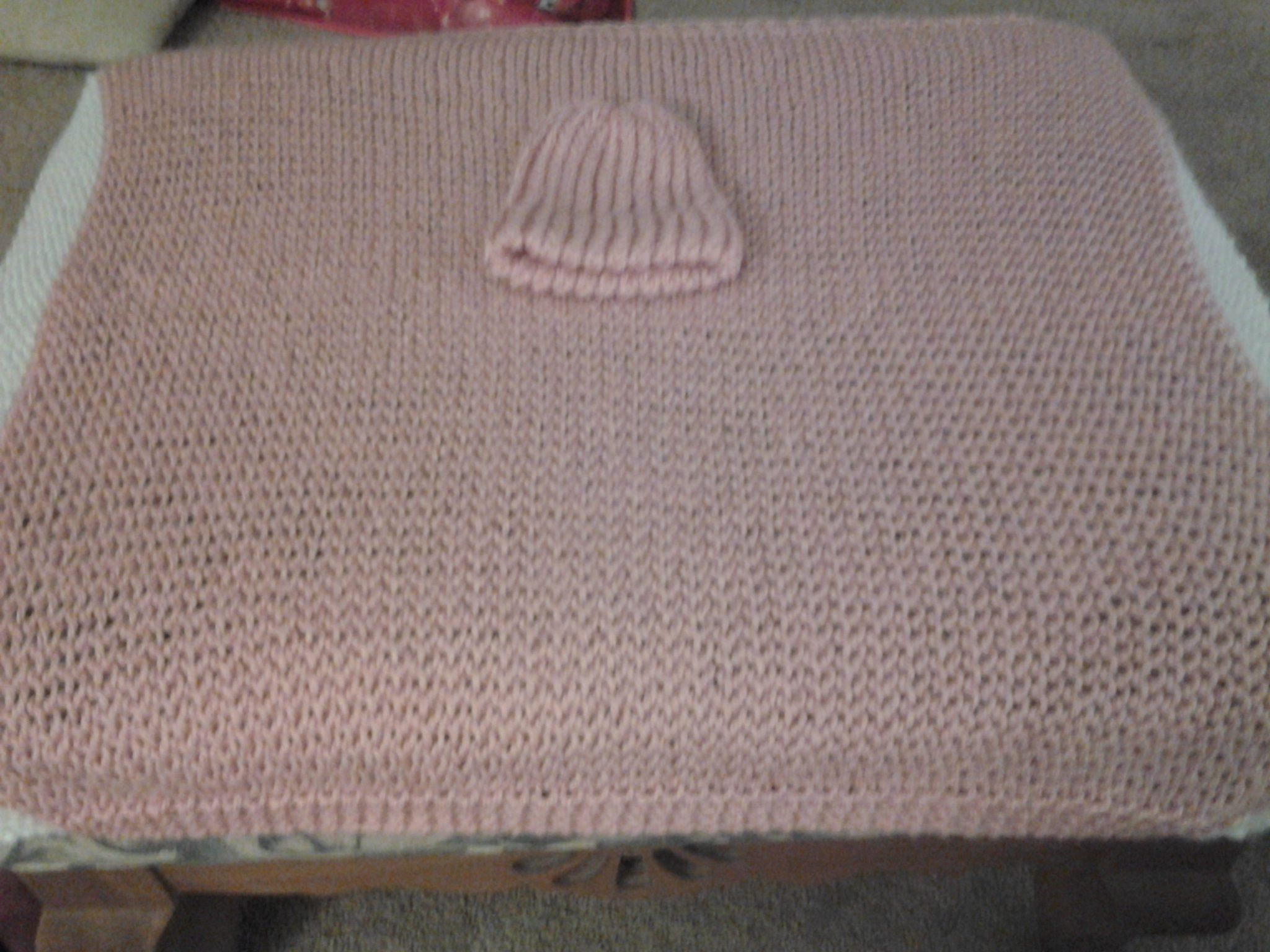 Knitting A Baby Blanket On A Round Loom : Baby blanket and matching beanie trim done