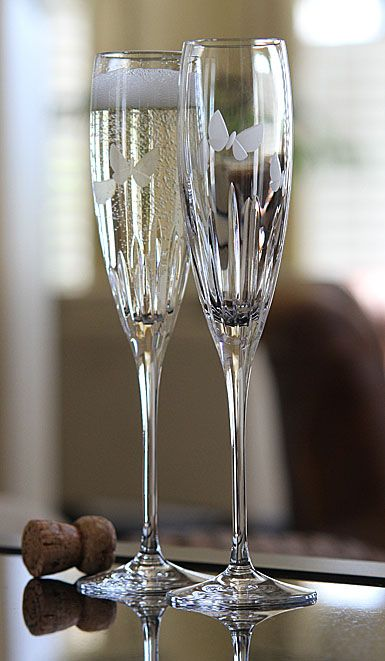 Waterford Butterfly Toasting Flutes Pair Unique Wine Glasses Crystal Glassware Wedding Toasting Glasses