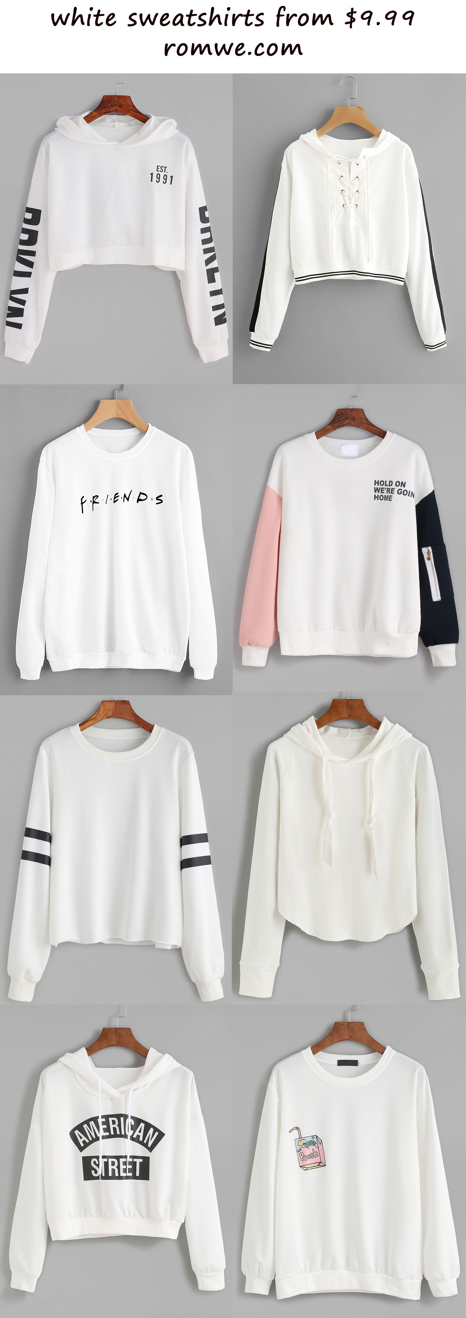 white sweatshirts 2017 - romwe.com