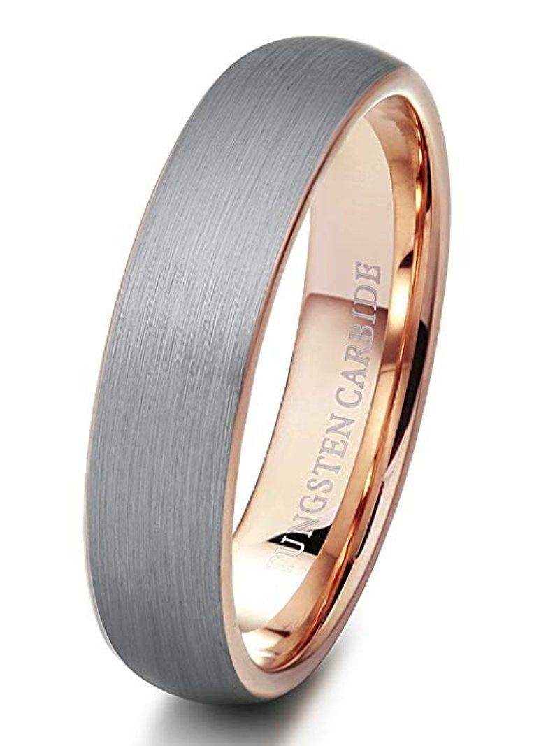 Mens Wedding Band Ring Brushed Rose Gold 6mm Tungsten Carbide Etsy Womens Tungsten Rings Rings Mens Wedding Bands Engagement Rings For Men