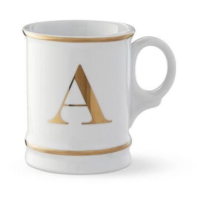 Gold Monogram Mug Mugs White Coffee
