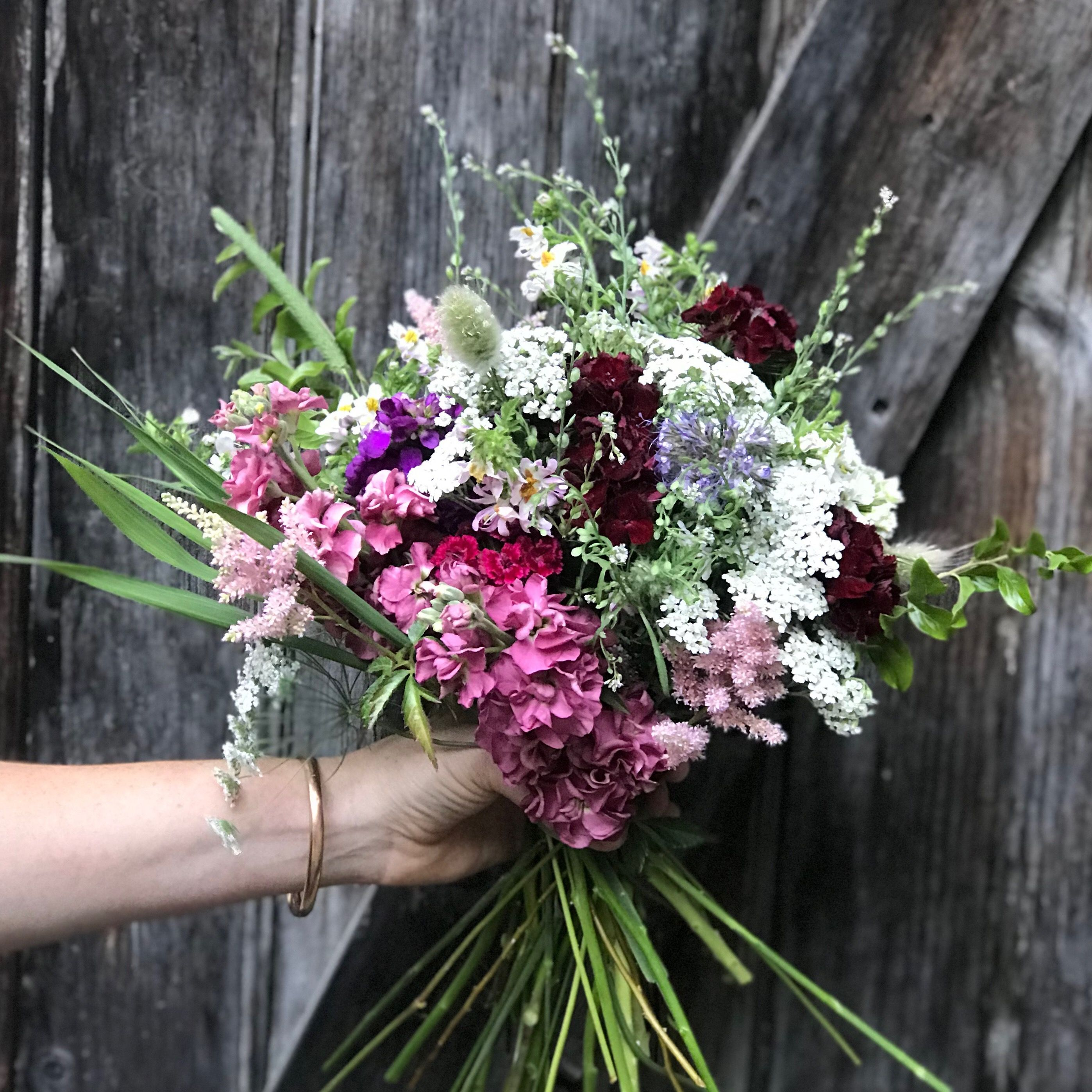Early summer bouquet made fresh from our farm flowers in