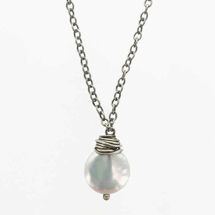 J And I Pearl Wire Wrap Necklace
